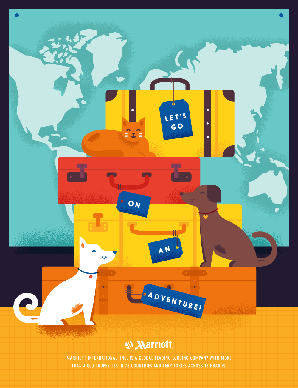Pet Friendly Hotel Illustrated Travel Poster  Pet Poster