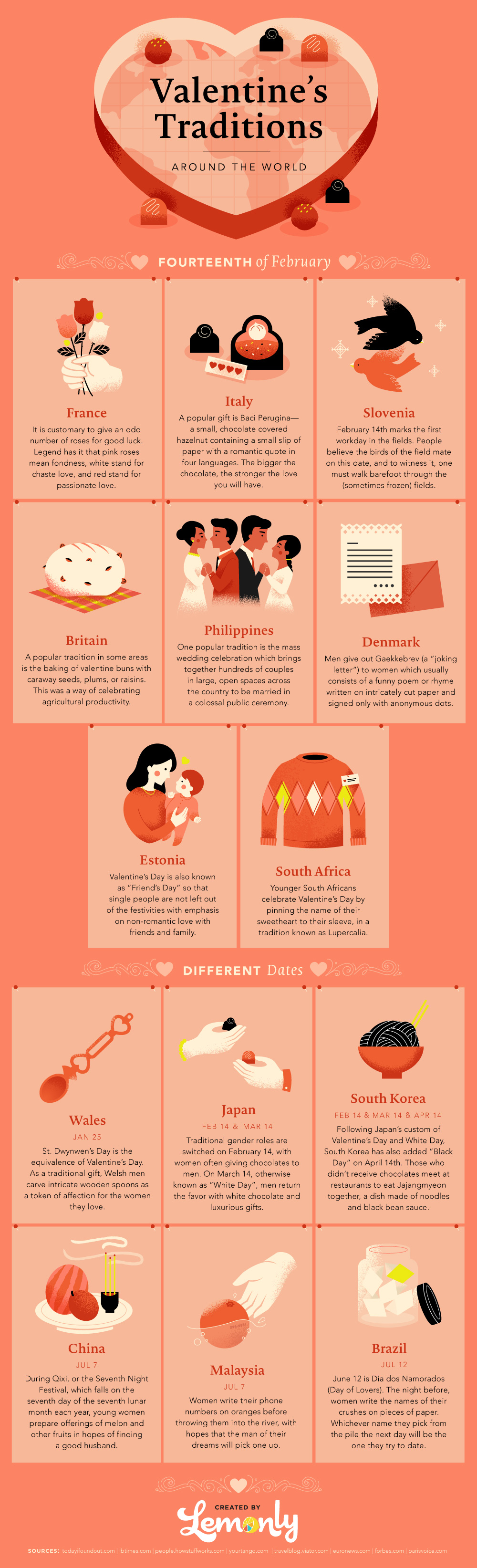 Valentine's Traditions from Around the World Infographic