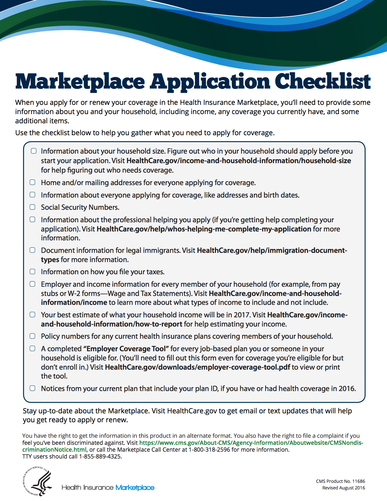 marketplace application checklist