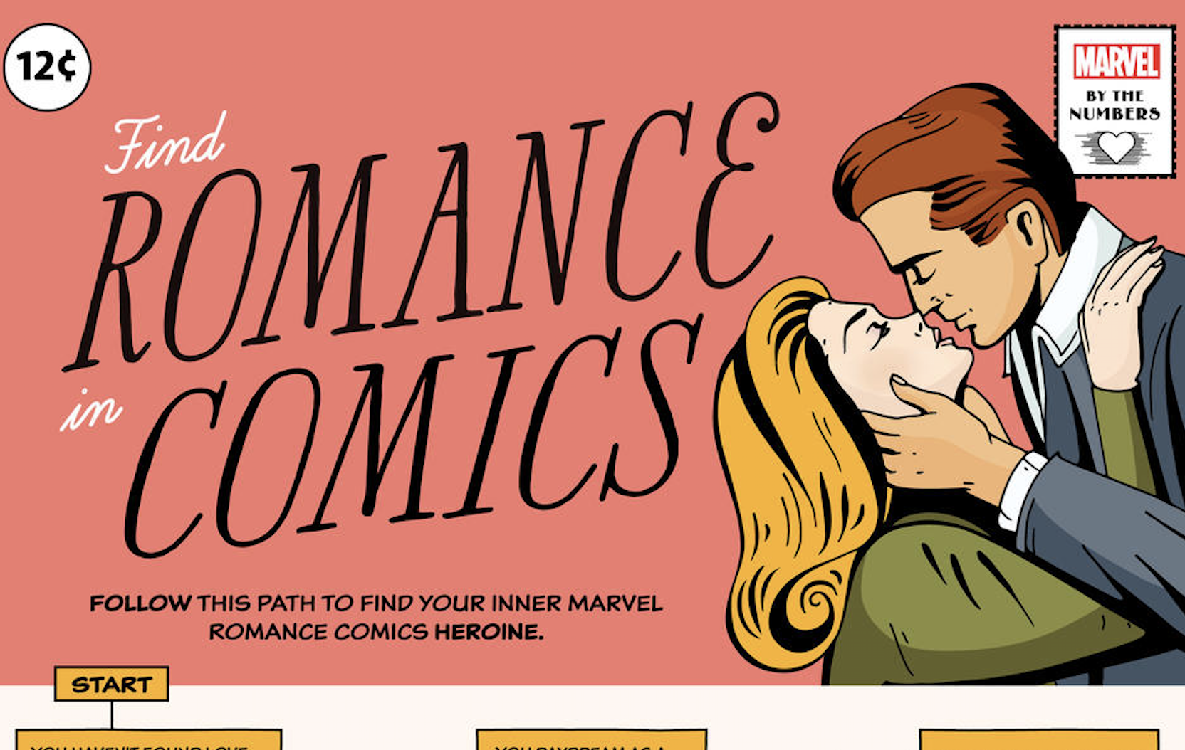 Marvel's Find Romance in Comics Flowchart